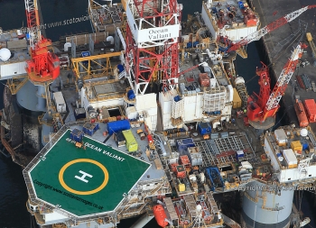 Aerial photography Scotland,Oil platform