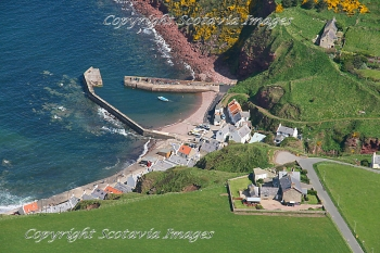 Aerial photography Scotland Pennan and the Local hero Red phone box