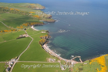 Aerial photography Scotland Above Pennan village