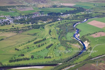 Aerial photography Scotland  Newtonmore golf course by the Spey