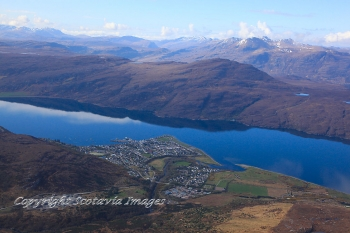 Aerial photography Scotland Ullapool and An Teallach beyond