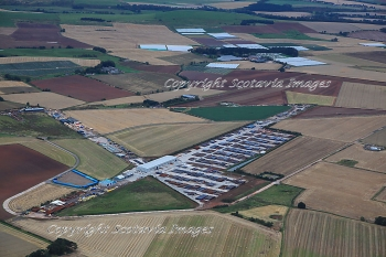 Aerial photography Scotland  Fordoun airfield  oil gas pipe base Angus