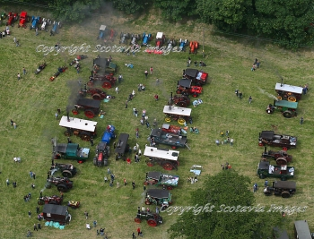 Aerial photography Scotland Castle Fraser steam rally 2008