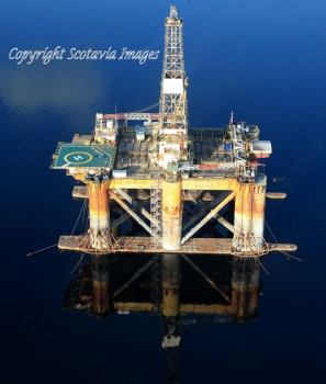 Aerial photography Scotland J W McLean oil platform
