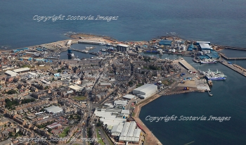 Aerial photography Scotland  Peterhead town,fish market and port