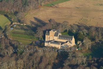 Aerial photography Scotland Pluscarden Abbey