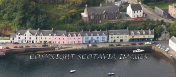 Aerial photography Scotland  Portree  harbour Isle of Skye