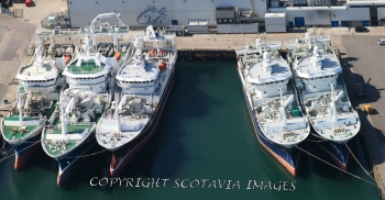 Aerial photography Scotland Trawlers at Fraserburgh.Taits,Chris Andra,Resolute,Ocean Quest,Ocean Venture
