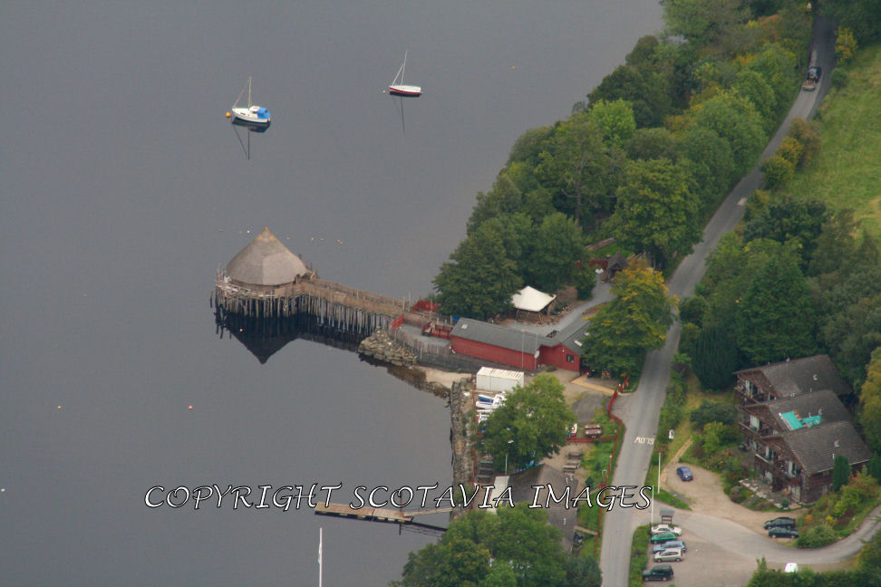 Aerial photography Scotland Scottish scenery Crannog centre Loch Tay