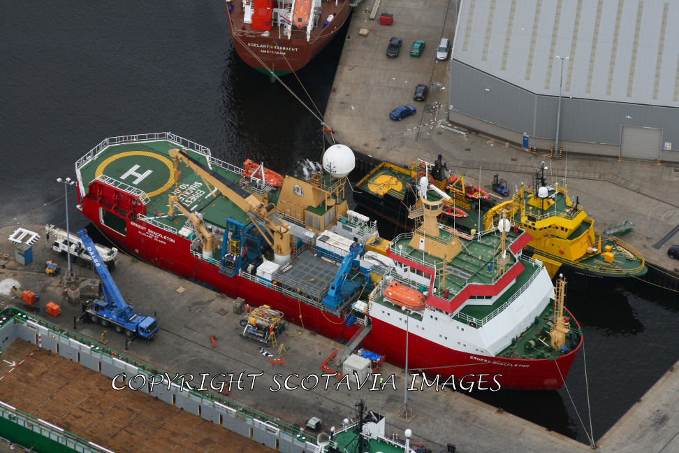 Aerial photography Scotland RRS Ernest Shackleton Aberdeen