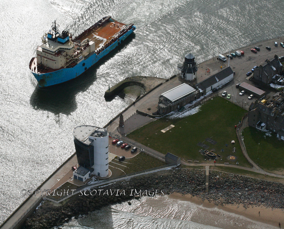 Aerial photography Scotland Maersk Assister leaves Aberdeen harbour